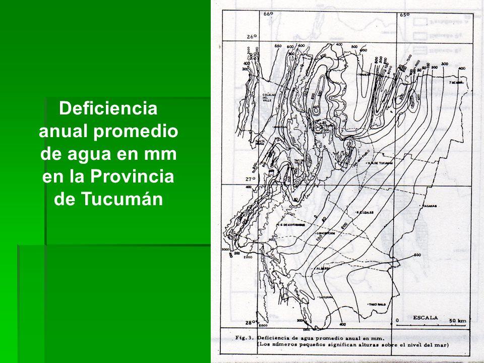 Deficiencia anual promedio de agua en mm en la Provincia de Tucumán