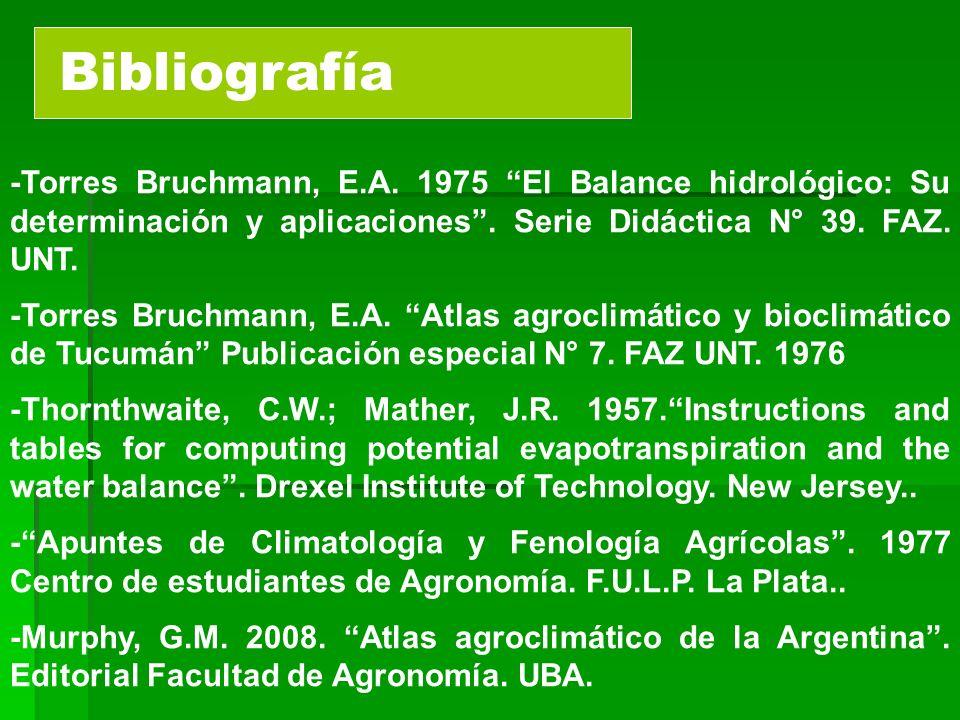 Bibliografía -Torres Bruchmann, E.A. 1975 El Balance hidrológico: Su determinación y aplicaciones. Serie Didáctica N° 39. FAZ. UNT. -Torres Bruchmann,