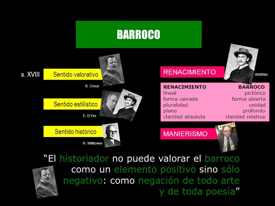 BARROCO RENACIMIENTO MANIERISMO Sentido valorativo Sentido estilístico Sentido histórico RENACIMIENTO BARROCO lineal pictórico forma cerrada forma abi