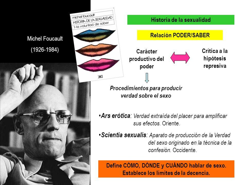 Michel Foucault (1926-1984) Historia de la sexualidad Carácter productivo del poder Relación PODER/SABER Crítica a la hipótesis represiva Procedimient