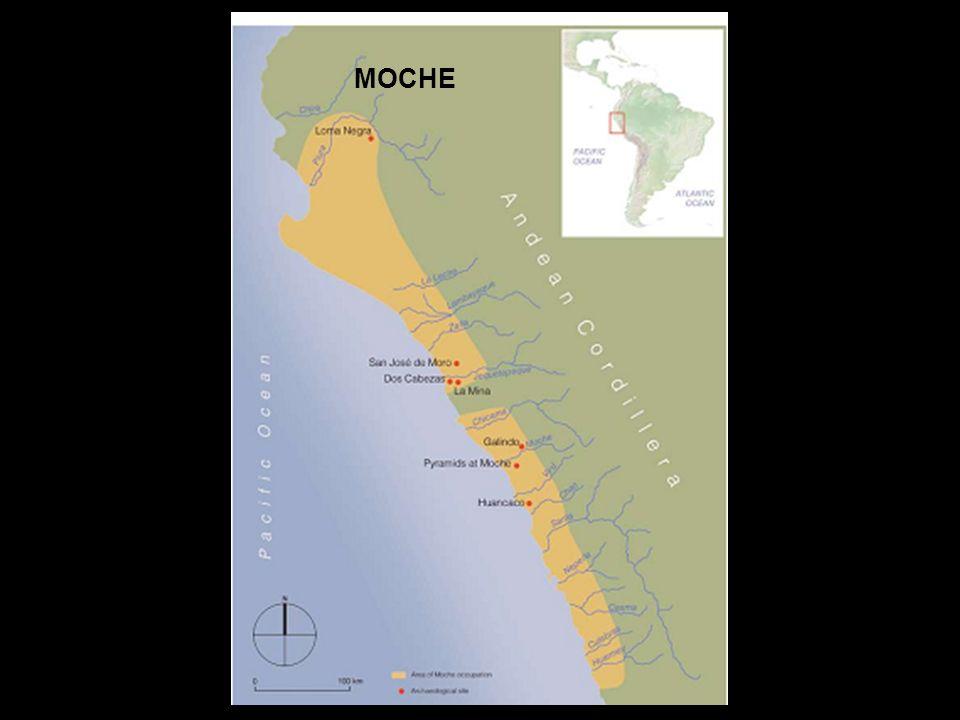 Max Uhle (1915) Huaca de la Luna en el Valle de Moche Rafael Larco Hoyle (1948) Estado centralizado, con capital en el valle de Moche (Huaca del Sol y de la Luna, 1938; 1939).