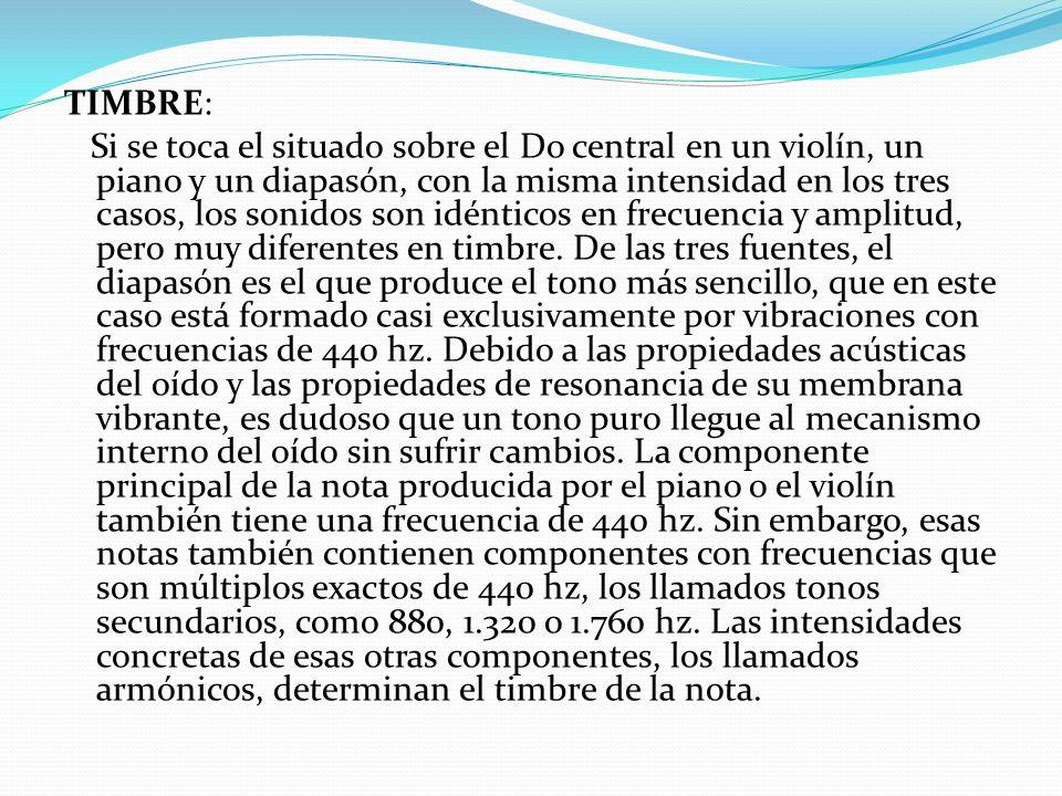 TIMBRE: Si se toca el situado sobre el Do central en un violín, un piano y un diapasón, con la misma intensidad en los tres casos, los sonidos son idé