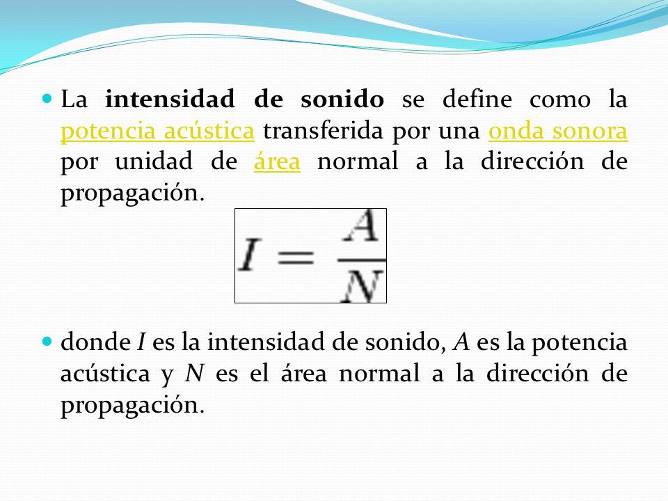 La intensidad de sonido se define como la potencia acústica transferida por una onda sonora por unidad de área normal a la dirección de propagación. p
