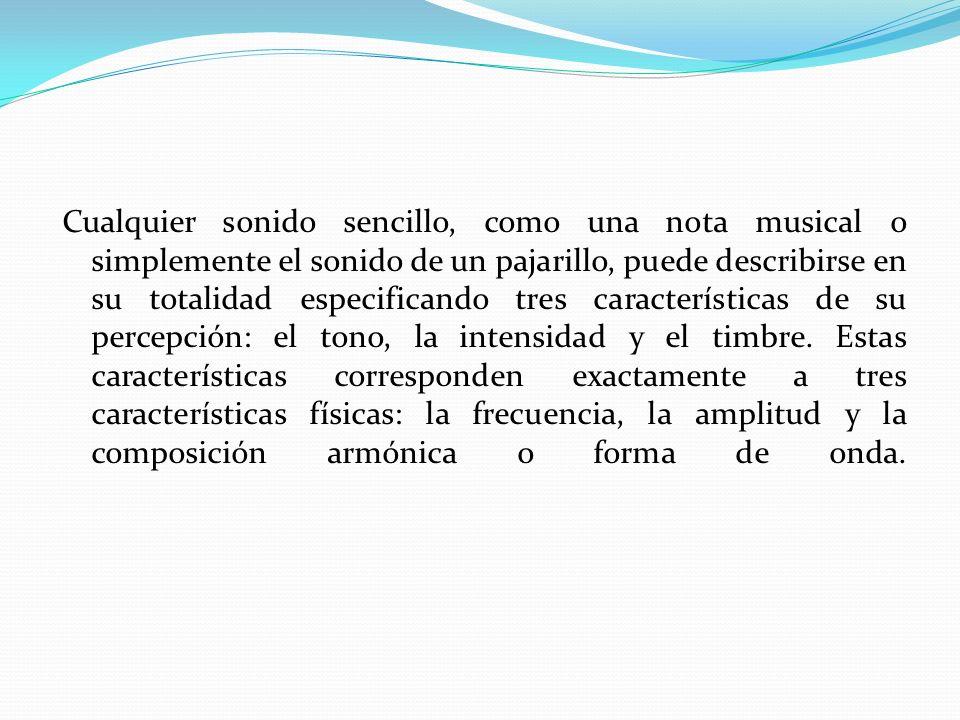 Cualquier sonido sencillo, como una nota musical o simplemente el sonido de un pajarillo, puede describirse en su totalidad especificando tres caracte