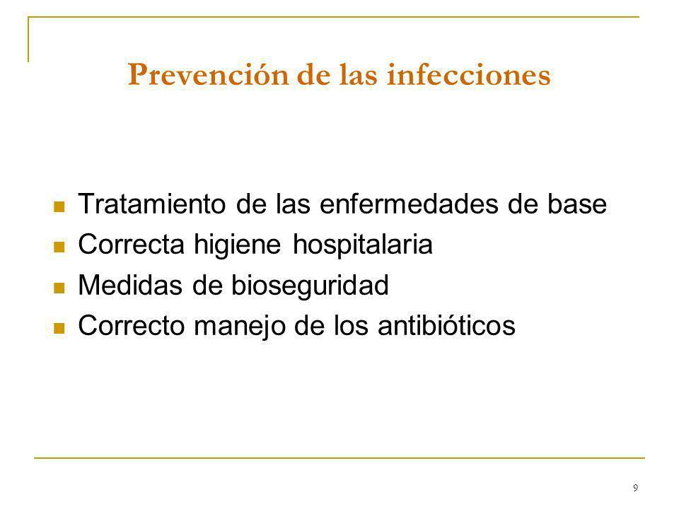 9 Prevención de las infecciones Tratamiento de las enfermedades de base Correcta higiene hospitalaria Medidas de bioseguridad Correcto manejo de los a