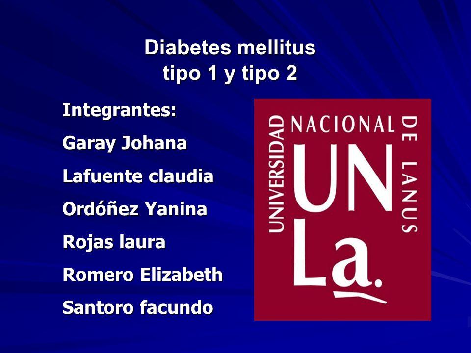 Diabetes mellitus tipo 1 y tipo 2 Integrantes: Garay Johana Lafuente claudia Ordóñez Yanina Rojas laura Romero Elizabeth Santoro facundo