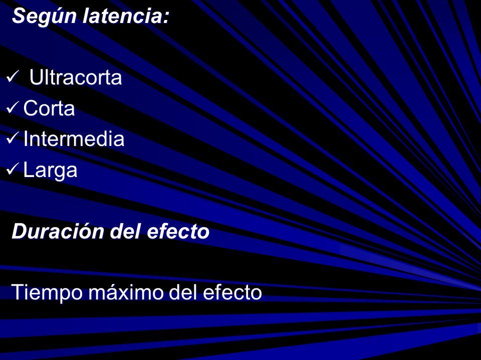 Según latencia: Según latencia: Ultracorta Ultracorta Corta Corta Intermedia Intermedia Larga Larga Duración del efecto Duración del efecto Tiempo máx