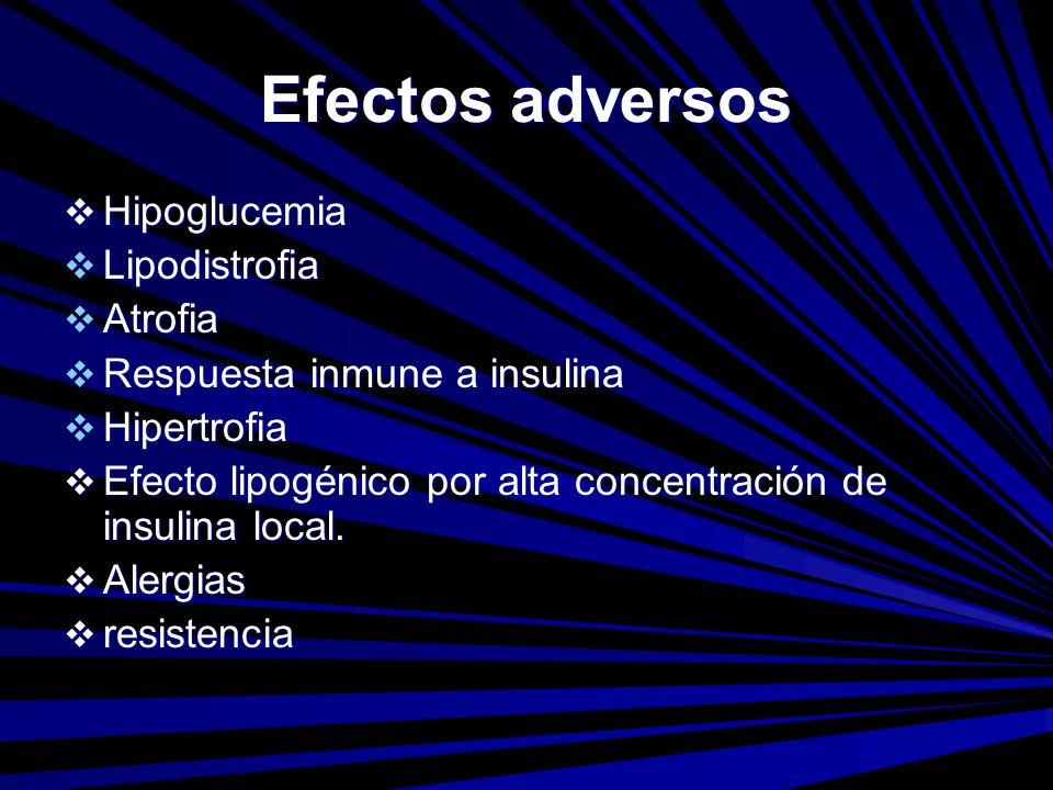 Efectos adversos Hipoglucemia Hipoglucemia Lipodistrofia Lipodistrofia Atrofia Atrofia Respuesta inmune a insulina Respuesta inmune a insulina Hipertr