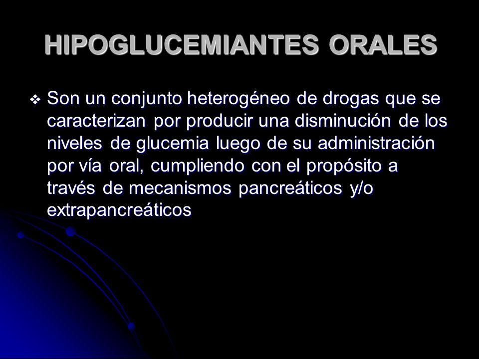 HIPOGLUCEMIANTES ORALES Son un conjunto heterogéneo de drogas que se caracterizan por producir una disminución de los niveles de glucemia luego de su