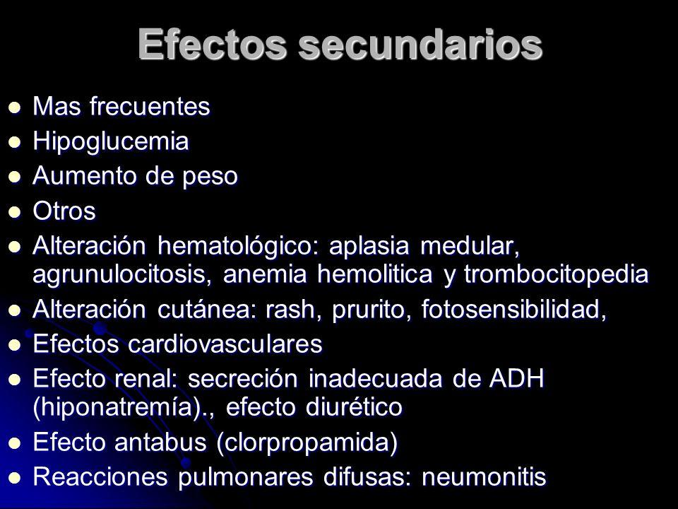 Efectos secundarios Mas frecuentes Mas frecuentes Hipoglucemia Hipoglucemia Aumento de peso Aumento de peso Otros Otros Alteración hematológico: aplas
