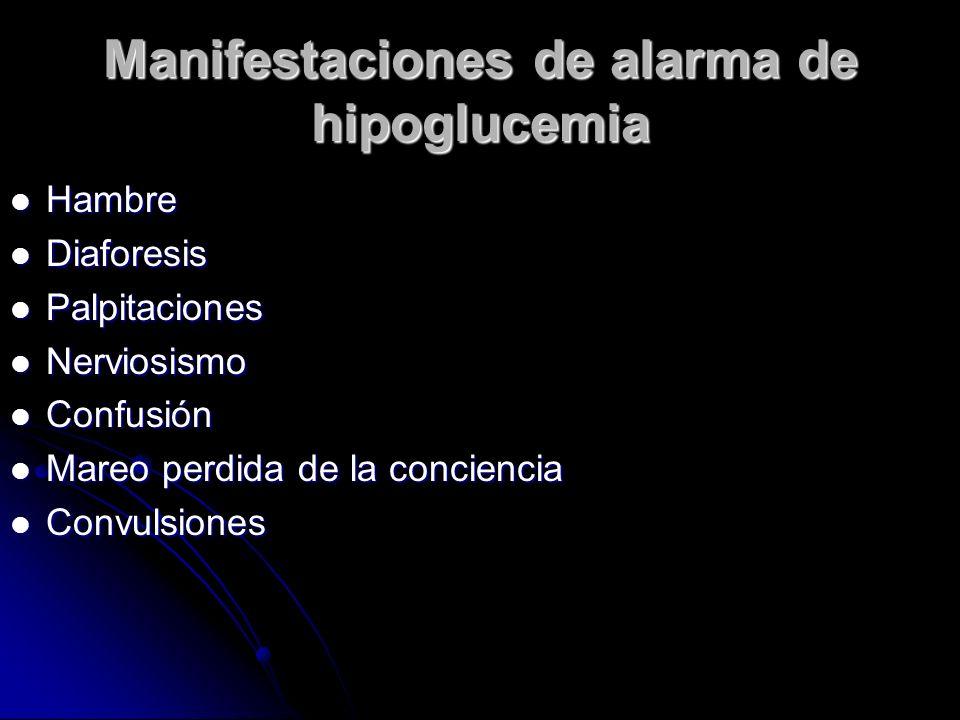 Manifestaciones de alarma de hipoglucemia Hambre Hambre Diaforesis Diaforesis Palpitaciones Palpitaciones Nerviosismo Nerviosismo Confusión Confusión