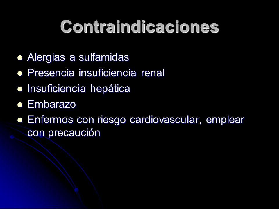 Contraindicaciones Alergias a sulfamidas Alergias a sulfamidas Presencia insuficiencia renal Presencia insuficiencia renal Insuficiencia hepática Insu