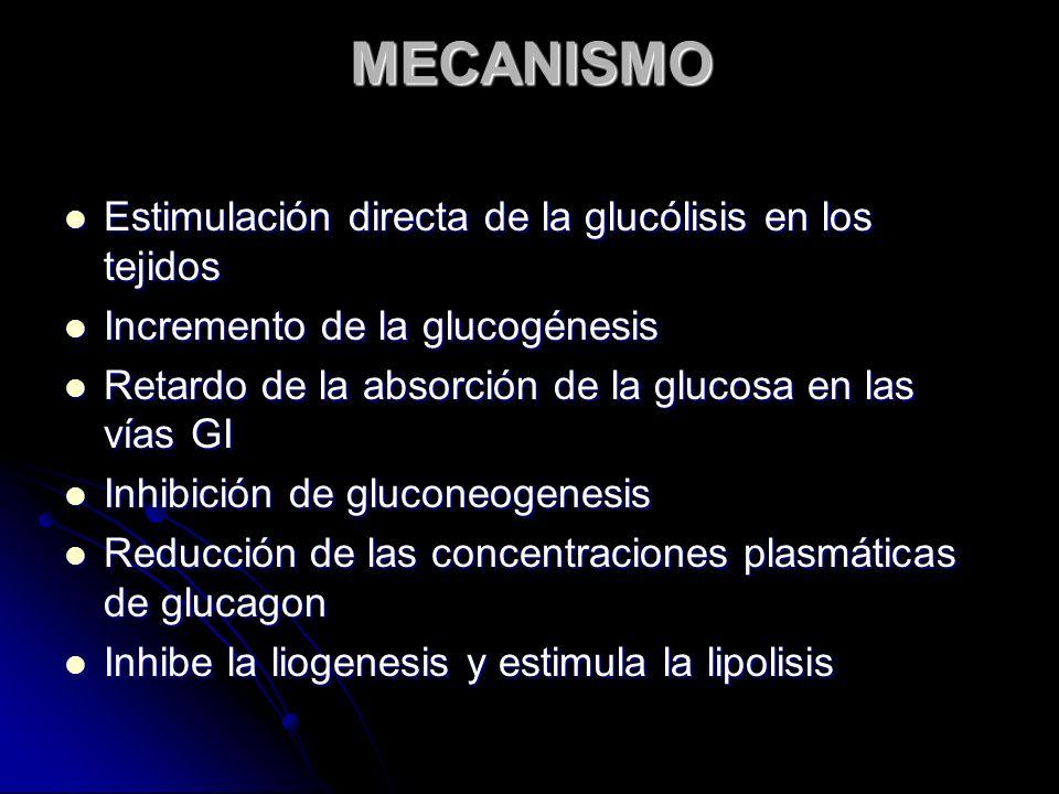 MECANISMO Estimulación directa de la glucólisis en los tejidos Estimulación directa de la glucólisis en los tejidos Incremento de la glucogénesis Incr