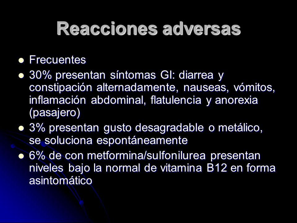 Reacciones adversas Frecuentes Frecuentes 30% presentan síntomas GI: diarrea y constipación alternadamente, nauseas, vómitos, inflamación abdominal, f