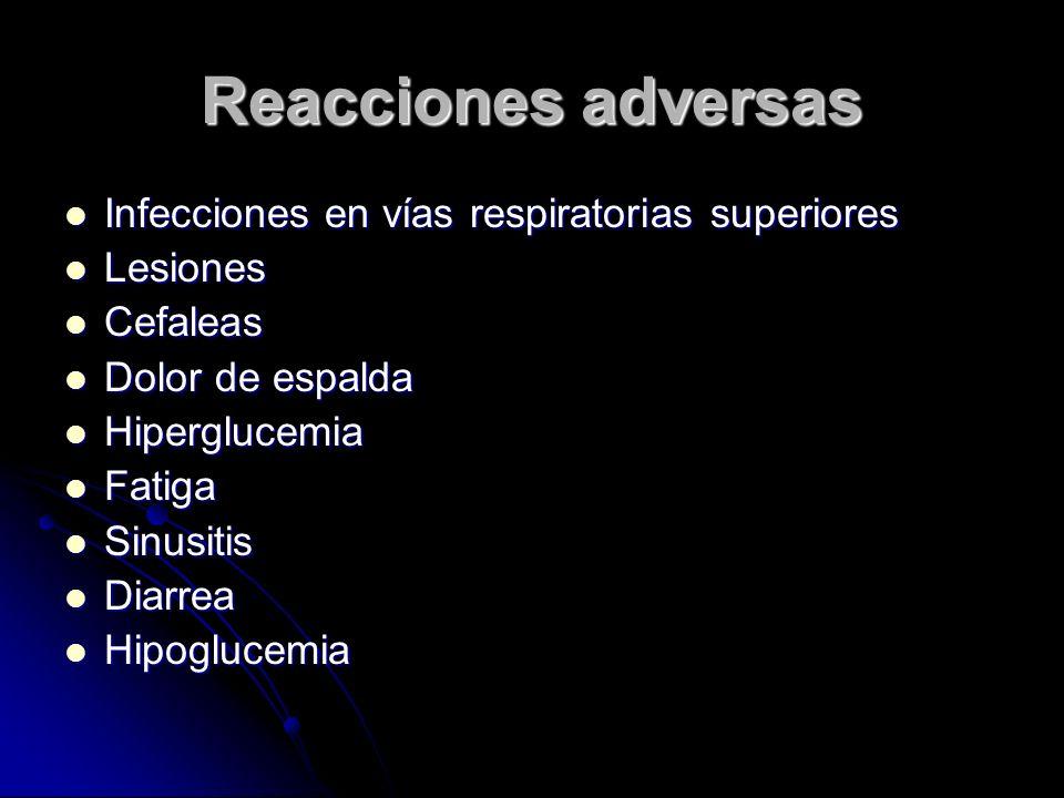 Reacciones adversas Infecciones en vías respiratorias superiores Infecciones en vías respiratorias superiores Lesiones Lesiones Cefaleas Cefaleas Dolo