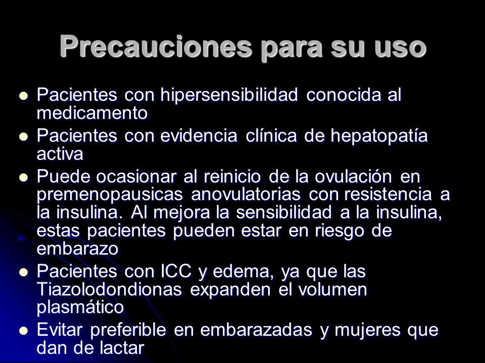 Precauciones para su uso Pacientes con hipersensibilidad conocida al medicamento Pacientes con hipersensibilidad conocida al medicamento Pacientes con