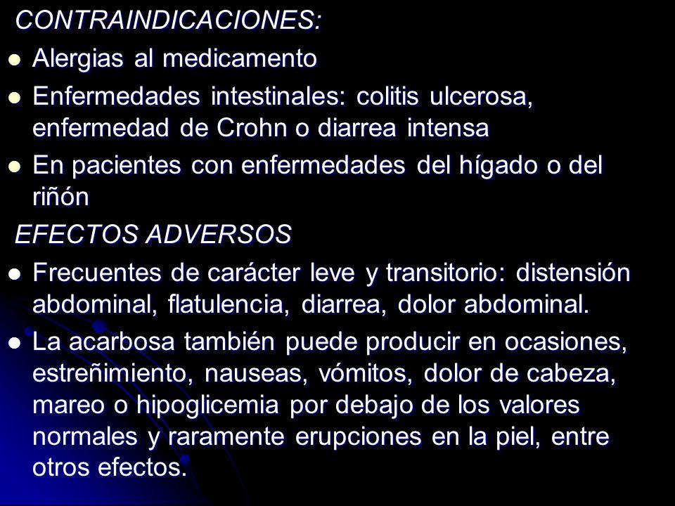 CONTRAINDICACIONES: CONTRAINDICACIONES: Alergias al medicamento Alergias al medicamento Enfermedades intestinales: colitis ulcerosa, enfermedad de Cro