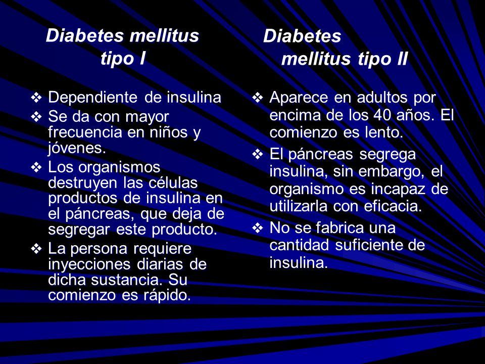 Diabetes mellitus tipo I Dependiente de insulina Dependiente de insulina Se da con mayor frecuencia en niños y jóvenes. Se da con mayor frecuencia en