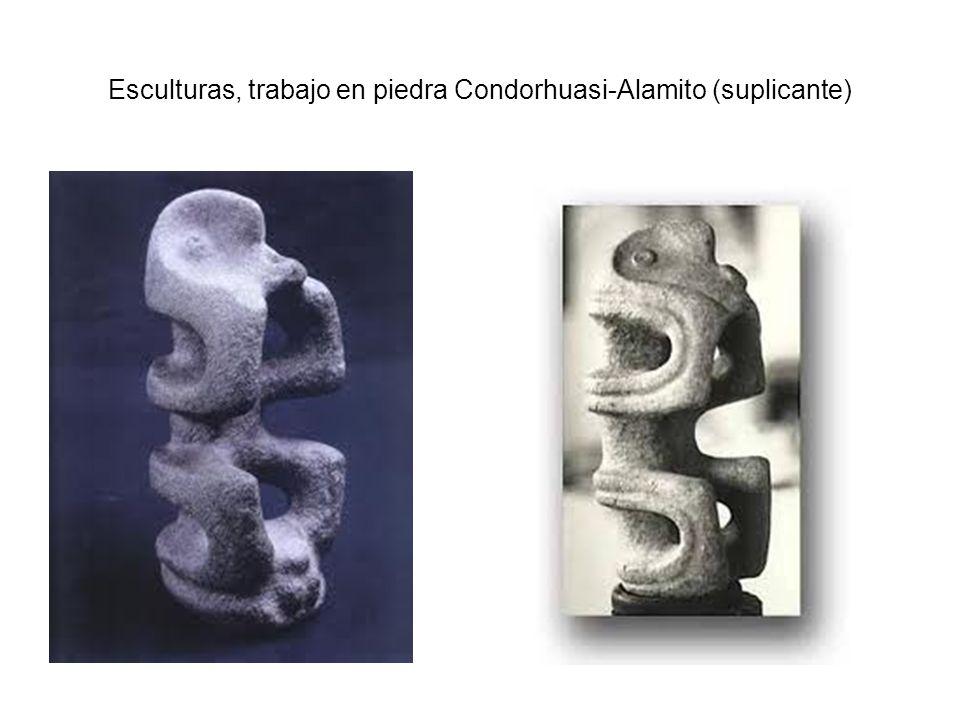 Esculturas, trabajo en piedra Condorhuasi-Alamito (suplicante)