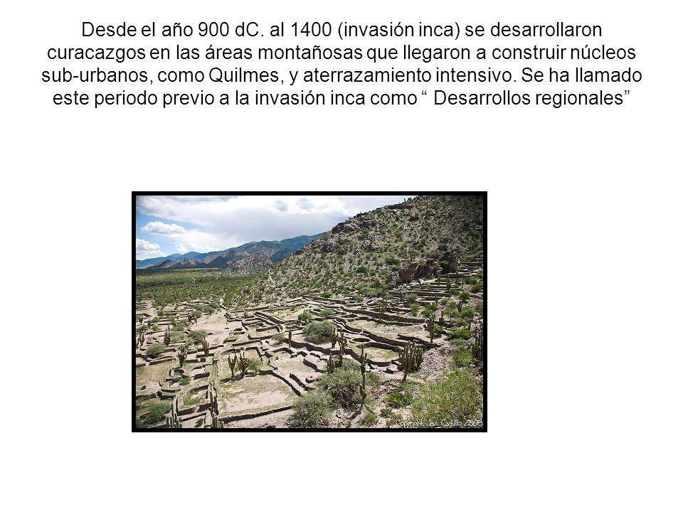 Desde el año 900 dC. al 1400 (invasión inca) se desarrollaron curacazgos en las áreas montañosas que llegaron a construir núcleos sub-urbanos, como Qu