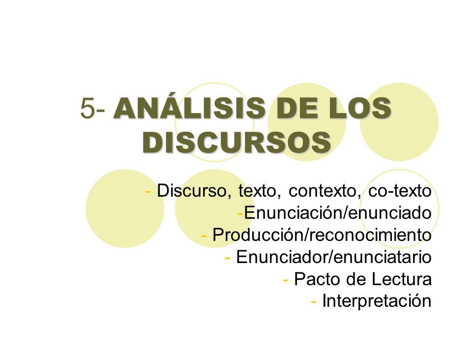 ANÁLISIS DE LOS DISCURSOS 5- ANÁLISIS DE LOS DISCURSOS - Discurso, texto, contexto, co-texto -Enunciación/enunciado - Producción/reconocimiento - Enun