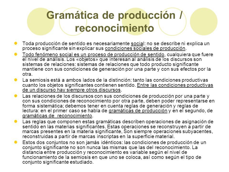 Gramática de producción / reconocimiento Toda producción de sentido es necesariamente social: no se describe ni explica un proceso significante sin ex