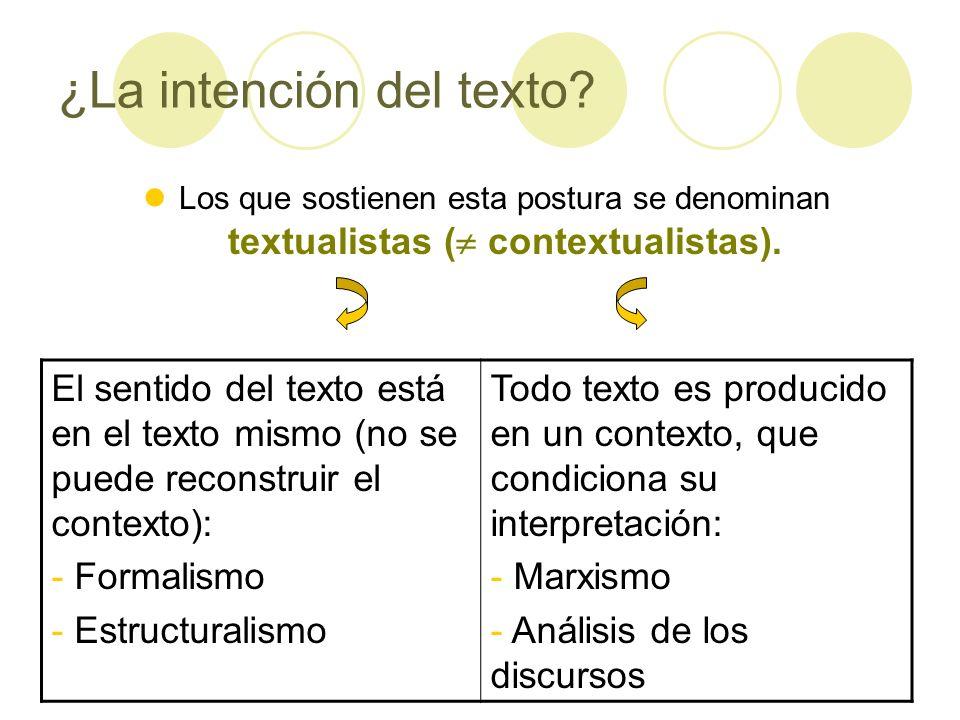 ¿La intención del texto? Los que sostienen esta postura se denominan textualistas ( contextualistas). El sentido del texto está en el texto mismo (no