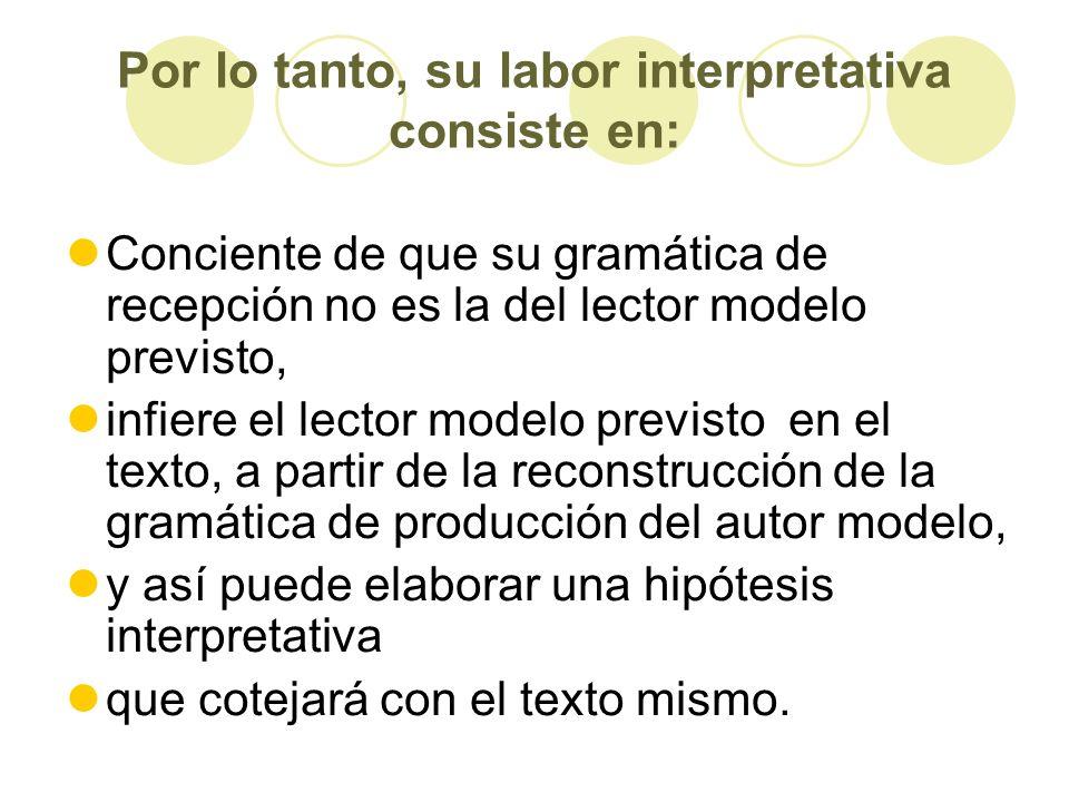 Por lo tanto, su labor interpretativa consiste en: Conciente de que su gramática de recepción no es la del lector modelo previsto, infiere el lector m