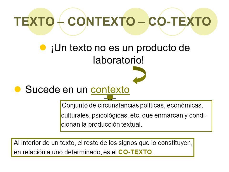 TEXTO – CONTEXTO – CO-TEXTO ¡Un texto no es un producto de laboratorio! Sucede en un contexto Conjunto de circunstancias políticas, económicas, cultur