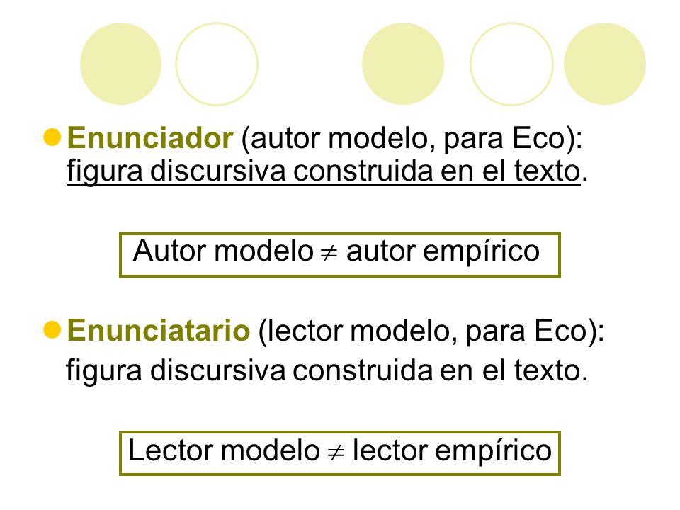 Enunciador (autor modelo, para Eco): figura discursiva construida en el texto. Autor modelo autor empírico Enunciatario (lector modelo, para Eco): fig