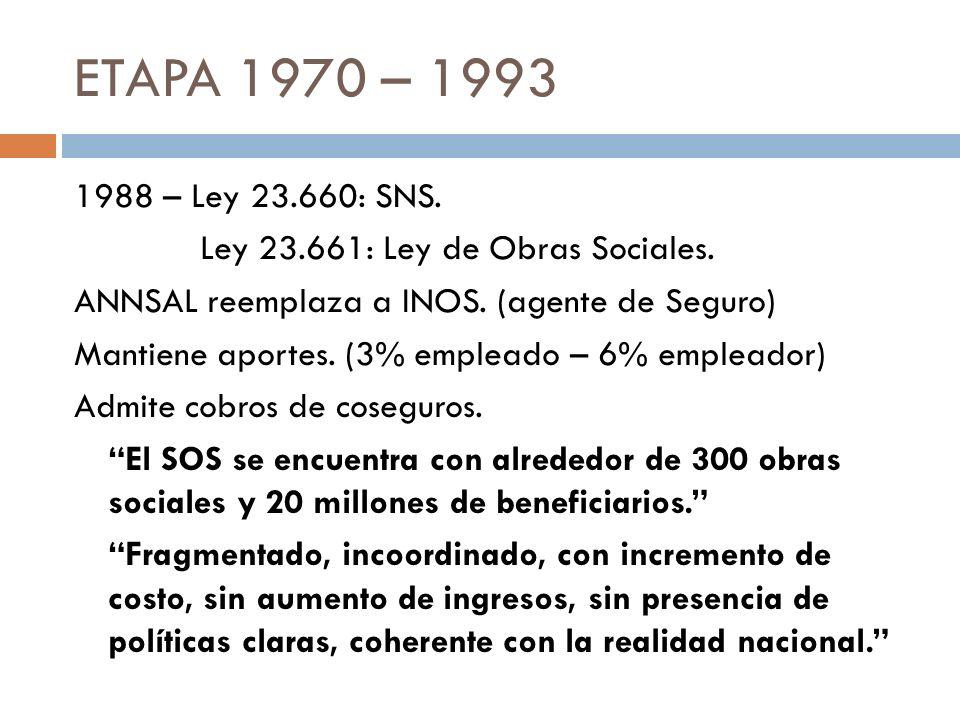 ETAPA 1970 – 1993 1988 – Ley 23.660: SNS. Ley 23.661: Ley de Obras Sociales. ANNSAL reemplaza a INOS. (agente de Seguro) Mantiene aportes. (3% emplead