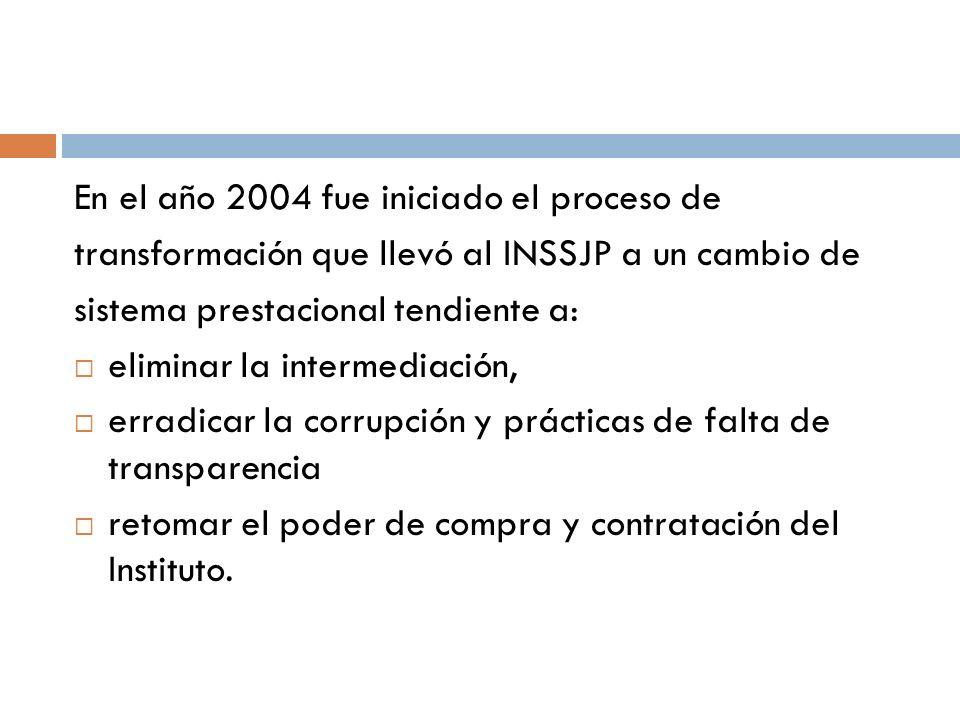 En el año 2004 fue iniciado el proceso de transformación que llevó al INSSJP a un cambio de sistema prestacional tendiente a: eliminar la intermediaci