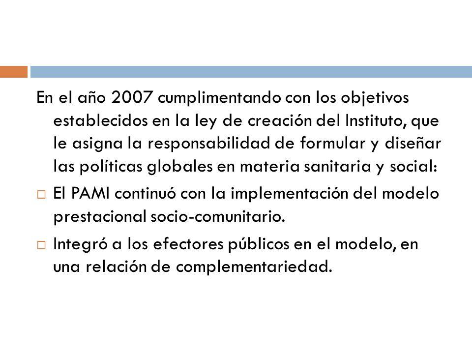 En el año 2007 cumplimentando con los objetivos establecidos en la ley de creación del Instituto, que le asigna la responsabilidad de formular y diseñ