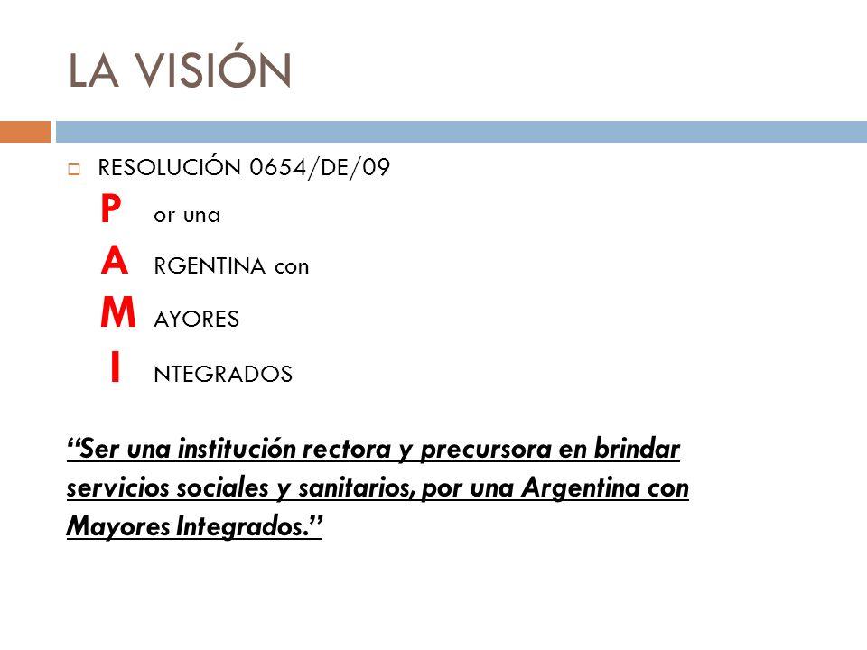 LA VISIÓN RESOLUCIÓN 0654/DE/09 P or una A RGENTINA con M AYORES I NTEGRADOS Ser una institución rectora y precursora en brindar servicios sociales y