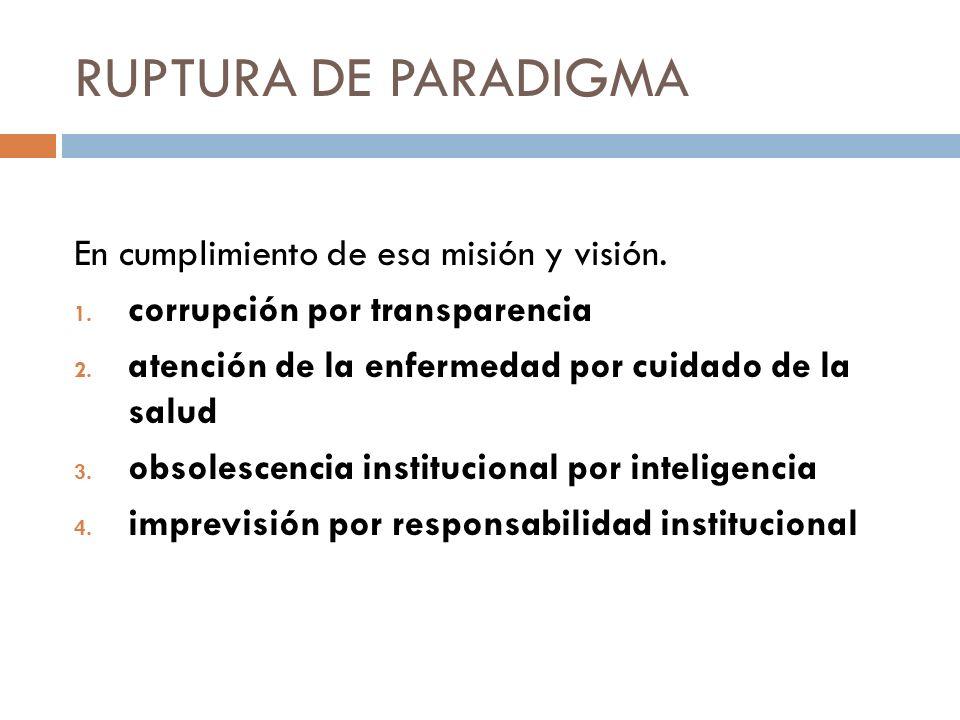 RUPTURA DE PARADIGMA En cumplimiento de esa misión y visión. 1. corrupción por transparencia 2. atención de la enfermedad por cuidado de la salud 3. o