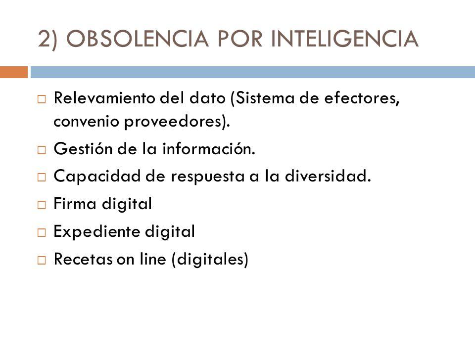 2) OBSOLENCIA POR INTELIGENCIA Relevamiento del dato (Sistema de efectores, convenio proveedores). Gestión de la información. Capacidad de respuesta a