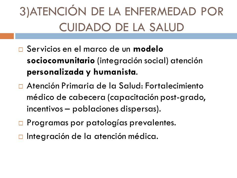 3)ATENCIÓN DE LA ENFERMEDAD POR CUIDADO DE LA SALUD Servicios en el marco de un modelo sociocomunitario (integración social) atención personalizada y