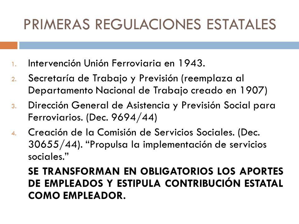 PRIMERAS REGULACIONES ESTATALES 1. Intervención Unión Ferroviaria en 1943. 2. Secretaría de Trabajo y Previsión (reemplaza al Departamento Nacional de