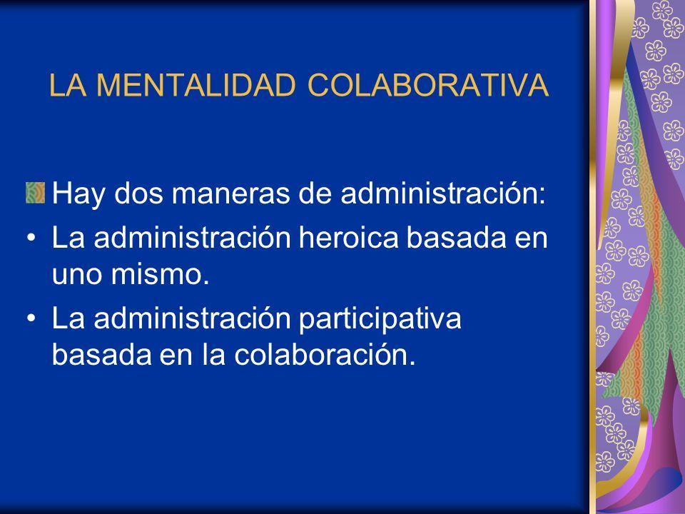 LA MENTALIDAD COLABORATIVA Hay dos maneras de administración: La administración heroica basada en uno mismo. La administración participativa basada en