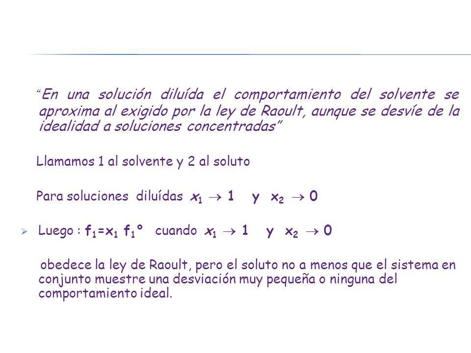 En una solución diluída el comportamiento del solvente se aproxima al exigido por la ley de Raoult, aunque se desvíe de la idealidad a soluciones conc