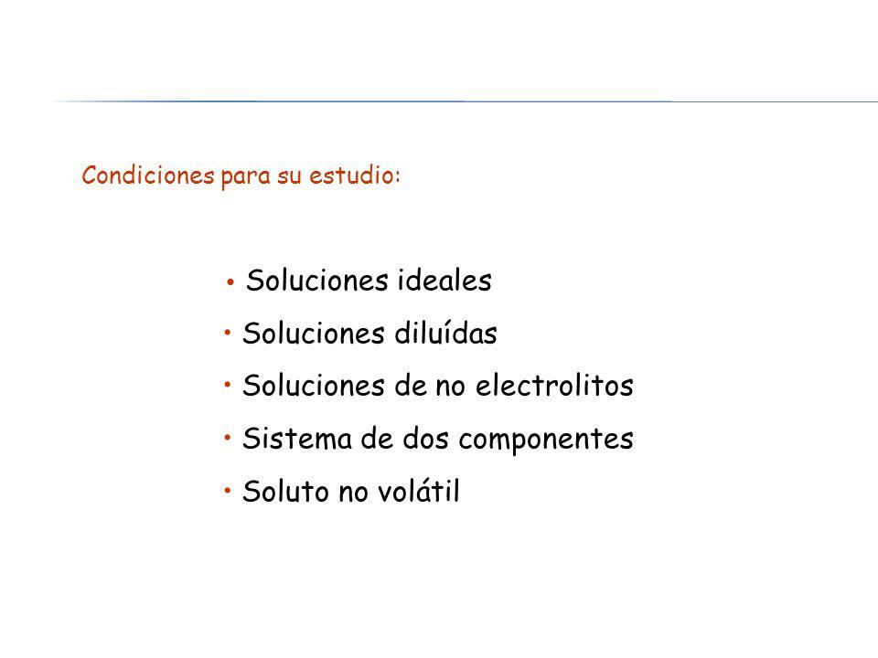 Soluciones ideales Soluciones diluídas Soluciones de no electrolitos Sistema de dos componentes Soluto no volátil Condiciones para su estudio: