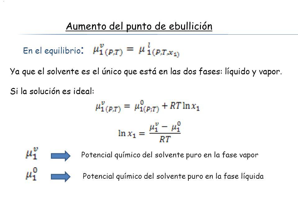 En el equilibrio : Aumento del punto de ebullición Ya que el solvente es el único que está en las dos fases: líquido y vapor. Si la solución es ideal: