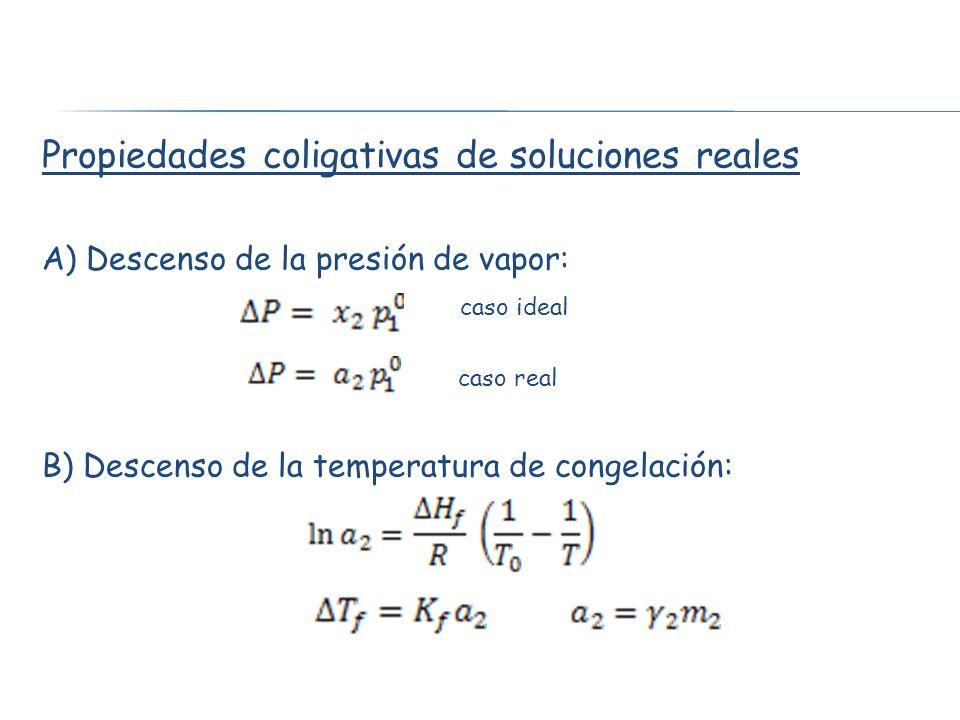 Propiedades coligativas de soluciones reales A) Descenso de la presión de vapor: caso ideal caso real B) Descenso de la temperatura de congelación: