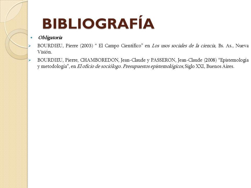 BIBLIOGRAFÍA Obligatoria BOURDIEU, Pierre (2003) El Campo Científico en Los usos sociales de la ciencia, Bs. As., Nueva Visión. BOURDIEU, Pierre, CHAM