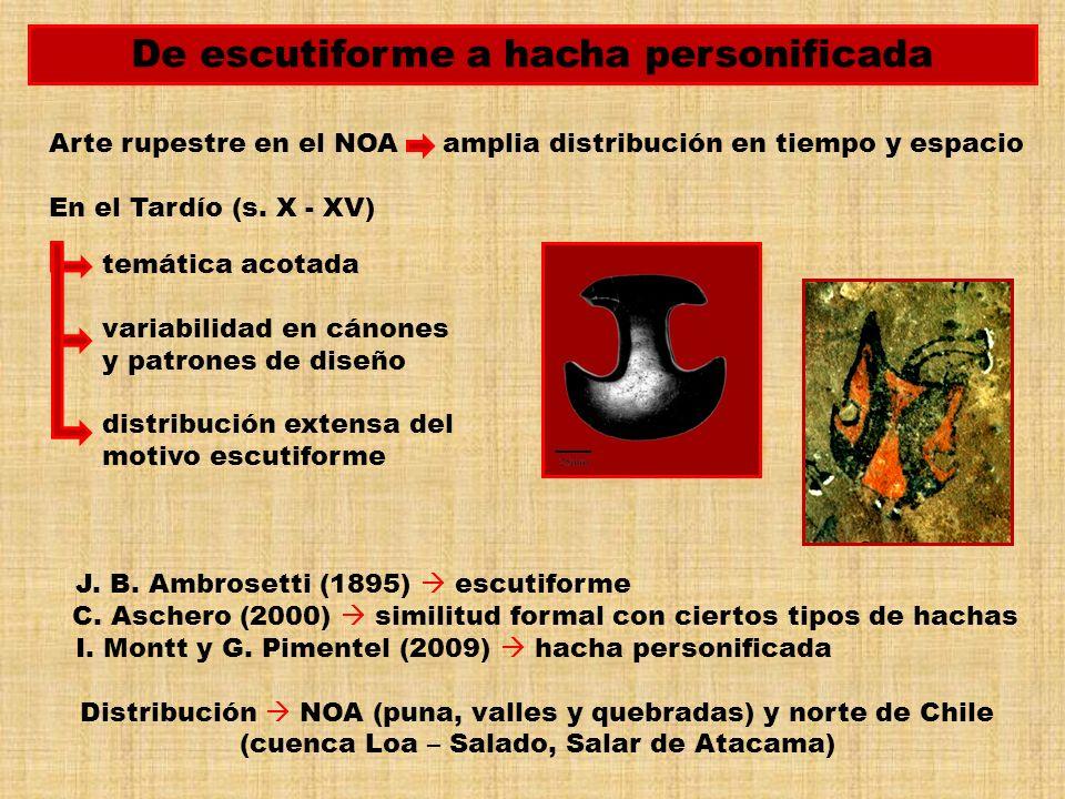 De escutiforme a hacha personificada Arte rupestre en el NOA amplia distribución en tiempo y espacio En el Tardío (s. X - XV) temática acotada variabi