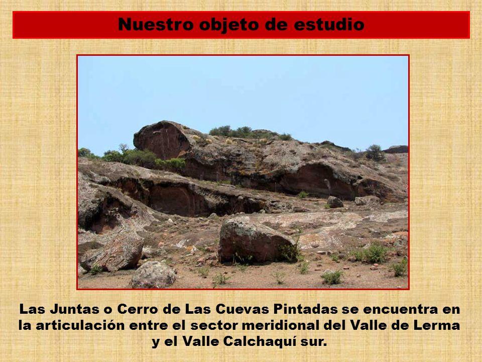 Las Juntas o Cerro de Las Cuevas Pintadas se encuentra en la articulación entre el sector meridional del Valle de Lerma y el Valle Calchaquí sur. Nues