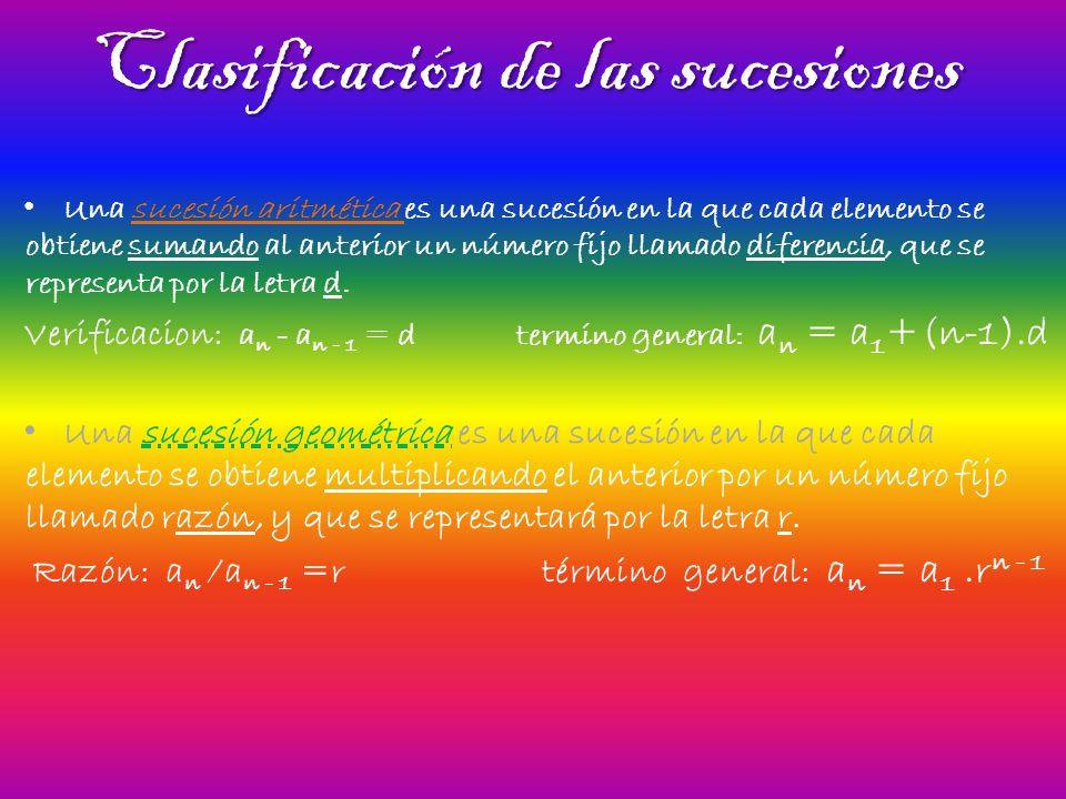 Clasificación de las sucesiones Una sucesión aritmética es una sucesión en la que cada elemento se obtiene sumando al anterior un número fijo llamado diferencia, que se representa por la letra d.