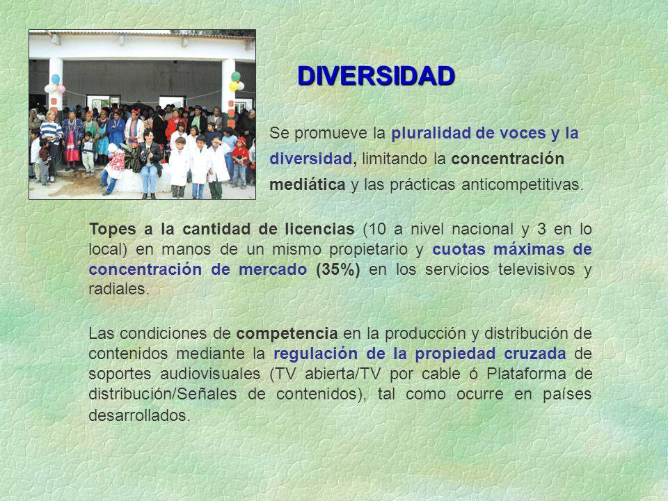 Se promueve la pluralidad de voces y la diversidad, limitando la concentración mediática y las prácticas anticompetitivas.
