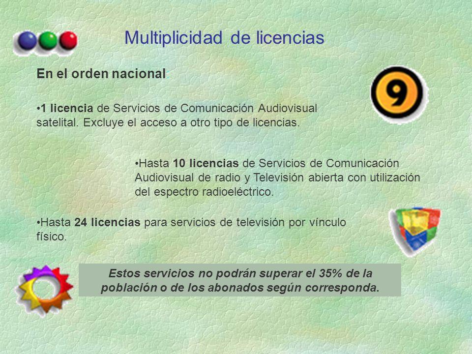 Multiplicidad de licencias En el orden nacional: 1 licencia de Servicios de Comunicación Audiovisual satelital.