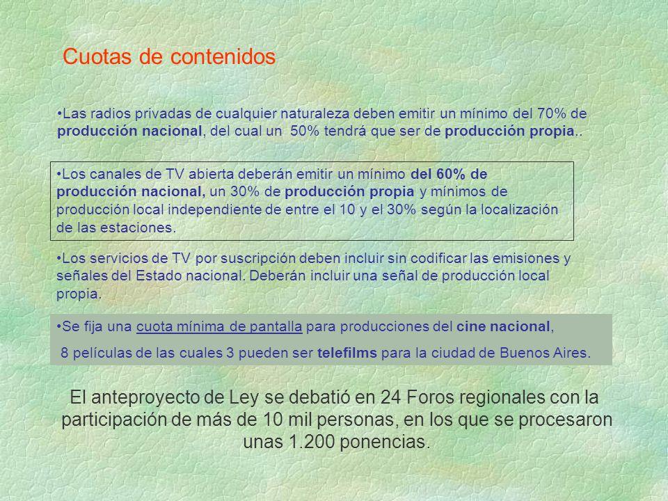Cuotas de contenidos Las radios privadas de cualquier naturaleza deben emitir un mínimo del 70% de producción nacional, del cual un 50% tendrá que ser de producción propia..
